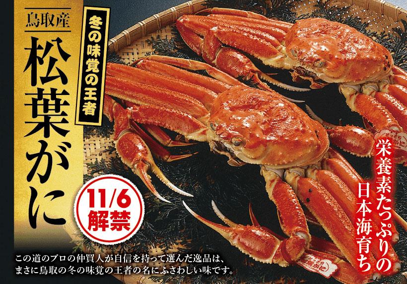 冬の味覚の王様松葉ガニの販売開始!